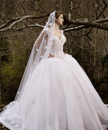 2014 Ball Gown Wedding Dresses lamia abinader Off Shoulder Sleeveless Lace Bodice Lace up Back Floral Wedding Bridal Gowns