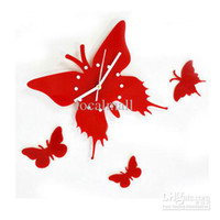 Digital The butterfly  Wholesale - 2 pcs Unique DIY Adhesive Butterfly Movement Wall Clock Home Decoration