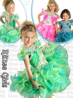 Model Pictures Girl Beads 2014 New Top Selling Little Rosie New Organza Cap Sleeve Ruffles Layered Rhinestone Flower Girl Ball Gown ritzee girls Pageant Dresses 02