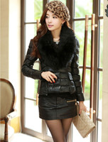 Coats Women Waist_Length 2013 New Fashion Design Lady Coats Unique Big Fur Polo Collar Button Placket Overcoats Patch Pockets Elastic Cuffs Thicken Tops Cheap 13867