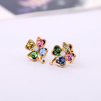 Wholesale Min order Pegasus is still decorated with Japanese and Korean fashion jewelry sweet clover Czech Diamond earrings female Packe