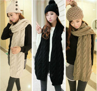 Wholesale Details about Fashion Korean Winter Women Men Braided Knit Wool Long Scarf Wrap Shawl Scarves