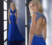 Cheap 2015 Spring Blue Hollow Back Design extensive Beadsl Decorated Deep V Neckline Floor Length Prom Gown Ruched A-line Chiffon Party Dress