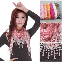 Wholesale Details about Lace Sheer Metallic Floral Print Triangle Mantilla Scarf Shawl Tassel HOT