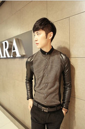Wholesale Men warmed Fake two piece Thicken Leather sleeves Long sleeve Shirt