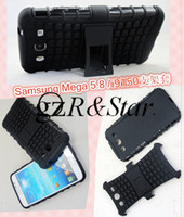 Galaxy Mega 5.8 I9150 I9152 TPU+PC Black Mix Color Galaxy Mega 5.8 I9150 I9152 Dual Armor case TPU&PC Combo phone case with Stand For Samsung Free Shipping 1pcs