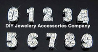 number charms - 100pcs intial floating charms MM numbers crystal rhinestone floating charms for glass memory living floating locket pendant no locket