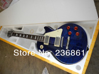 Wholesale High quality G LP standard signature sea blue burst color body topElectric Guitar