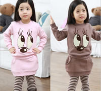 Wholesale Spring Autumn new style Girls Clothing Set Korean cartoon big Eye thicken T Shirt Leggings Pants Skirt Kids Outfits Children Suit TS99