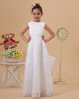 Model Pictures Girl Applique Long White Stretch Satin Tank Bodice Lace Skirt Flower Girl Dresses For Formal Occasion