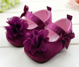 Wholesale Infant Baby Girls Toddler Shoes Dark Purple Kids Flower Fashion Soft soled Shoes Pair