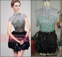 Wholesale 2014 Hot Selling Short Prom Dresses Real Image Sexy High Neck Crystals Beaded Feather Mini Short Little Black Cocktail Party Dresses SH21045