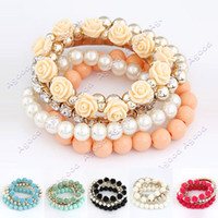 Wholesale Mix Flower Beads Stretch Bracelet Temperament Fashion Bangle Bead Bracelets