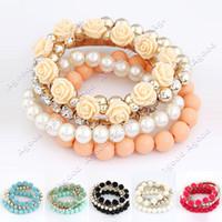 Wholesale Mix Flower Beads Stretch Bracelet Temperament Fashion Bangle Bead Bracelets