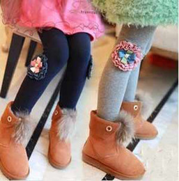 Wholesale Girl Clothes Children Leggings Tights Kids Trouser Skinny Pants Girls Tights Child Clothing Long Trousers Fashion Legging With Flower T90317