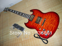 Cheap HOT Wholesale High-quality mahogany body LEFT Hand SG -400 sunset clouds red Electric Guitar