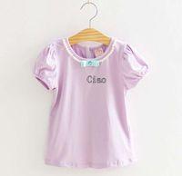 Girl Summer Standard Short Sleeve T Shirt Children T Shirts Tee Shirt Kids Clothing Girls Cute Bowknot Pearl Collar Shirts Summer Casual T Shirt Child Clothes