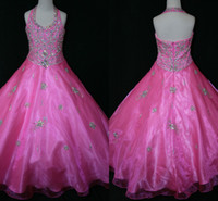 Reference Images Girl Applique Real Image 2014 Halter Bling Little Girl's Pageant Dresses Ball Gown Glitz Fushcia Organza Crystal Sequins Zipper Baby Dress For Girls Party