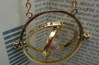 Wholesale Gold Plated Harry Potter Time Turner Hourglass Necklace Punk Hermione Granger Rotating Spins Gold Lover s Jewelry
