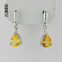 Stud Women's Sterling Silver Christmas genuine natural crystal jewelry natural citrine earrings earrings 925 sterling silver droplets
