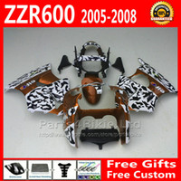 Wholesale Custom golden black fairings bodywork for Kawasaki fairing kit ZZR motobike parts ZX600 ZZR600 gifts fg66
