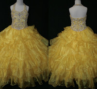 Reference Images Girl Applique Actual Image 2014 Halter Bling Little Girl's Pageant Dresses Ball Gown Yellow Organza Crystal Sequins Zipper Baby Dress For Girls Party