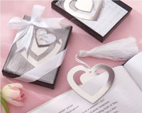 Wholesale 10pieces Wedding Practical Favors Heart shaped Book gift of Blessings Silver Bookmark Unique Personalized Gifts