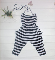 Baby girl kids summer striped jumpsuit jumpsuits ( cotton ta...