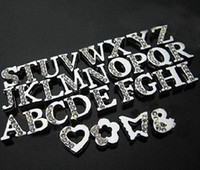 Alloy Plating Bracelets 50pcs alphabet 8MM initials letters A~Z floating crystal rhinestone charms for memory living floating glass locket no glass locket