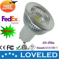 Wholesale High power W led gu10 Spot light gu10 cob bulb lm Replace W Halogen dimmable degree k Free Fedex
