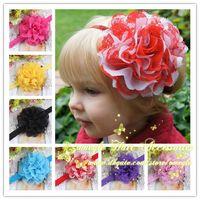 "Headbands chiffon Floral 4"" Tulle Mesh Chiffon Flower On A Shimmery Headband Newborn Headband Baby Girls Flower Headband 30PCS LOt Omegle Hair Accessories"