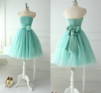 Reference Images Organza Sexy Short Lovely Mint Tulle Bridesmaid Dresses For Teens Young Girls 2014 Chic Flower Bow Sash Lace up Strapless Bridal Party Beach Wear Gowns