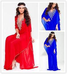 Wholesale Custom Fashion Arabic Dubai Abaya Jewel Beaded V Neck Chiffon Evening Dresses with Sleeves Red and Blue Full Length Dubai Kaftan Gowns