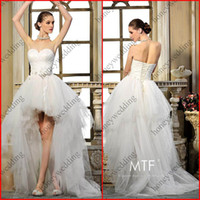Wholesale Wonderful Layers Organza Skirt Ball Gown Beads Pleat Corset Bodice Strapless Asymmetrical Wedding Dress DH7120