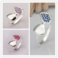 With Side Stones Women's Gift Hot 925 Silver Fashion charm women's & girl gift Austrian CZ Crystal Beautiful Cute pretty Heart love rings Free Shipping