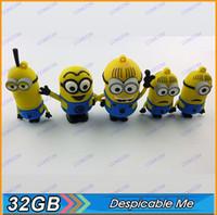USB 2.0 usb flash drive novelty - 32gb novelty cartoon Minions Despicable Me II USB Flash Drive Memory Stick pen drive pendrive drop K004 R028D