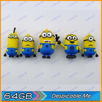 Wholesale 64gb novelty cartoon Minions Despicable Me USB Flash Drive Memory Stick pen drive pendrive drop J034 M006Q