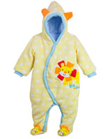 Wholesale HOt sell Baby cotton padded Thick Rompers Footies Romper with Hat warm ZW526H