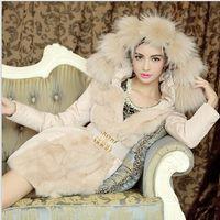 long feathers - 2014 Luxury Style Women Winter Long Down Parkas Thick Ladies elegant fur collar Outerwear Coat Feather cotton fur collar coat