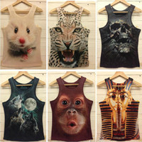 Wholesale Women Men leopard Animal D Sleeveless t shirts tiger cat wolf d Vest Tanks Tops Tees Freeshipping