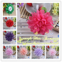 "Barrettes chiffon Floral New 4"" Soft Chiffon Flower Hair Clip Girls Barrettes Hair Accessories Baby Grils Hair Clips 16 COLOR 30PCS LOT"