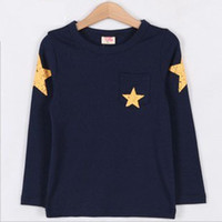 Wholesale Full Slevee Children Clothing Baby Boys Autumn Winter Tshirts Five Pointed Star Kids Tops TX