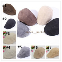 Wholesale Flax Summer new men comfortable breathable hemp Beret Hats Caps Ball Caps