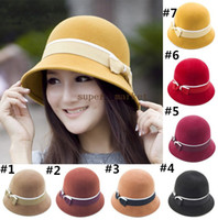 Wholesale Wool Korean British style lady cashmere blankets fashion hats Women and Girl Stingy Brim Hats