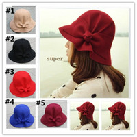 Wholesale Wool autumn winter bow hat bucket lovely ladies hats Top Hats Women and Girl Stingy Brim Hats
