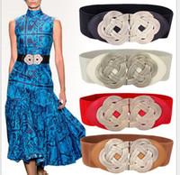 Wholesale Metal braided buckled belt ornaments elastic lady waist seal woman belts Compiled twist belt
