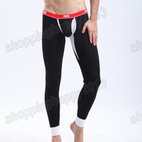 Pants Men  New Mens Sexy Tight Smooth Thermal Underwear Bulge Pouch Long Johns Pants S M L YF3509