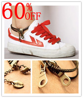 Wholesale new foot ankle chain women boots barefoot jewelry Retro double tassel zipper