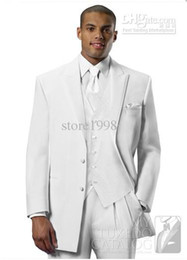 Wholesale Custom Made Groom Tuxedos White Two Buttons Peak Lapel Best man Groomsman Men Wedding Prom Suits Bridegroom Jacket Pants Tie Ve