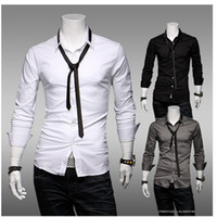 Wholesale Fashion han edition men s cultivate one s morality joker mercerized cotton long s shirt send a tie